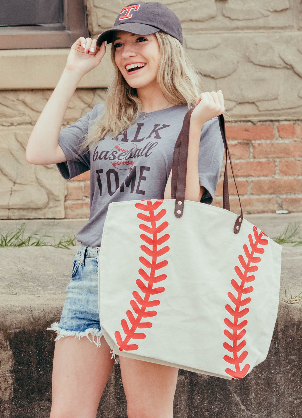 Oversized Baseball Canvas Bag Tote