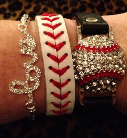 Rhinestone Softball Snap Bracelet