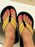 Cocomo Soul Leather Stitch Softball Flip Flops Womens