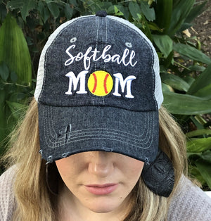 Cocomo Soul SOFTBALL MOM Mesh MESH Embroidered Hat