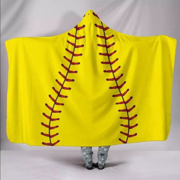 Adult Softball Hooded Blanket Cotton/Sherpa