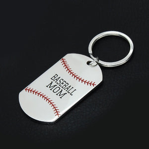 Baseball MOM Keychain Key Chain Dog Tag Gift Idea