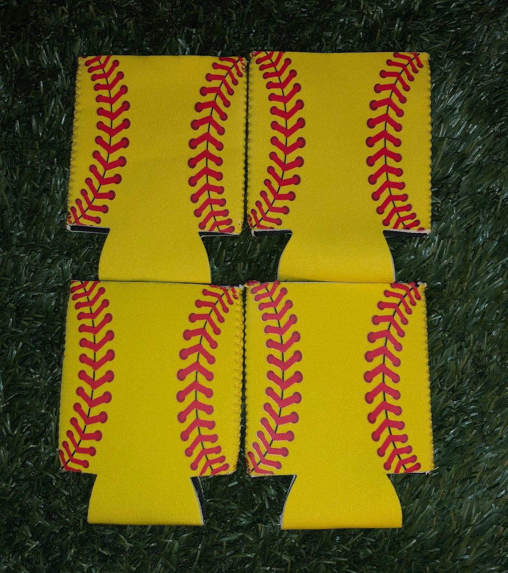 4 Pack Softball Neoprene Can Cooler