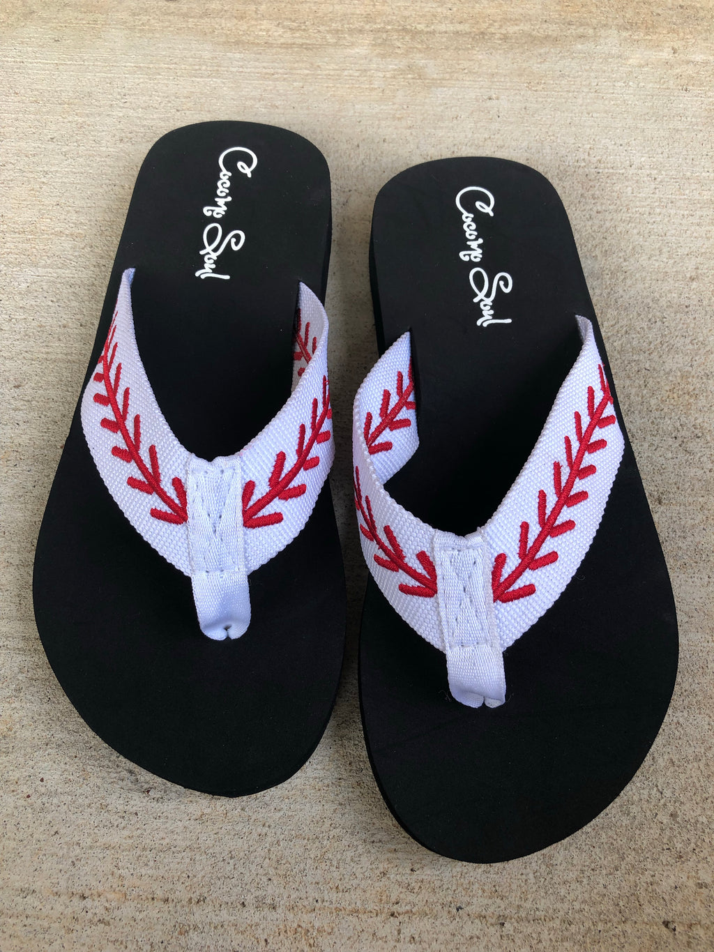 Baseball Embroidered Stitch Baseball Flip Flops Sandals Slippers Womens Baseball MOM