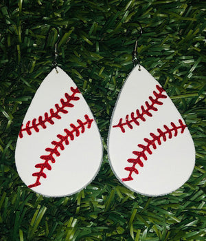 Baseball Leather Teardrop Earrings