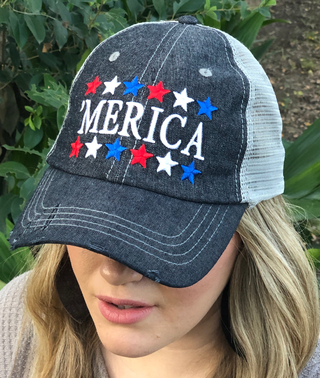 Merica America USA Star Distressed Trucker Hat