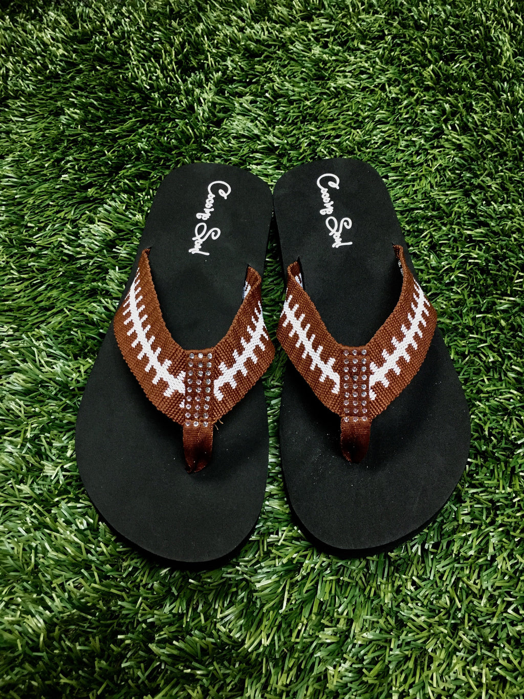 Cocomo Soul FABRIC Stitch FOOTBALL Flip Flops Womens