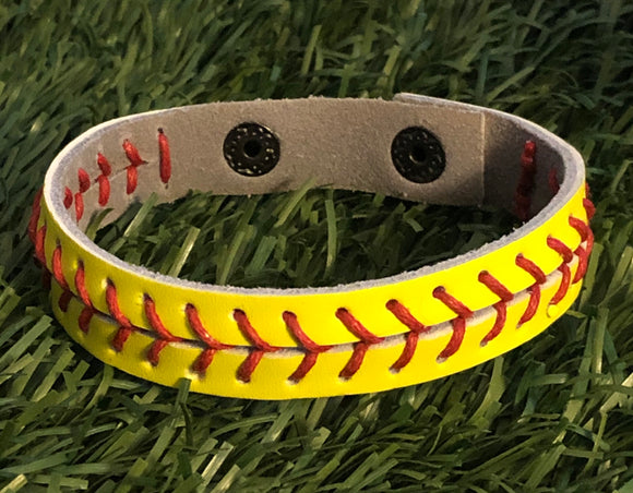 Softball Stitch Leather Snap Bracelet