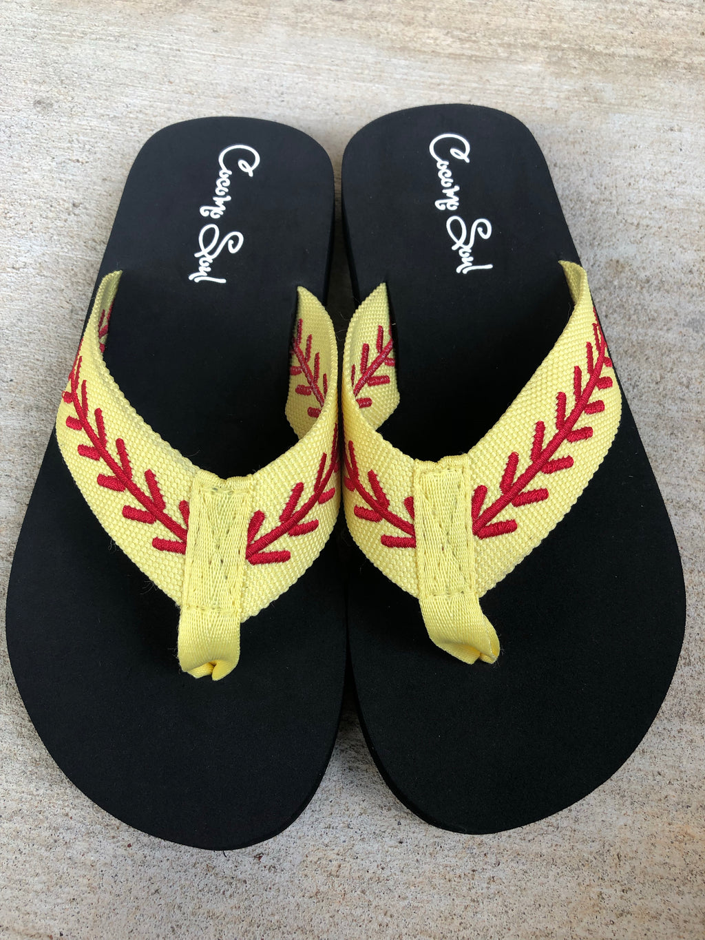 Embroidered Softball Fabric Flip Flops Women's