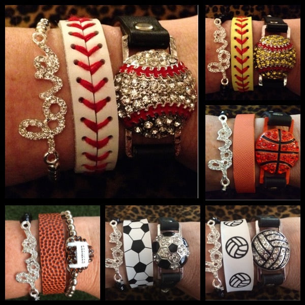Sports LOVE Stack Bracelet Jewlery Set of Three Baseball MOM