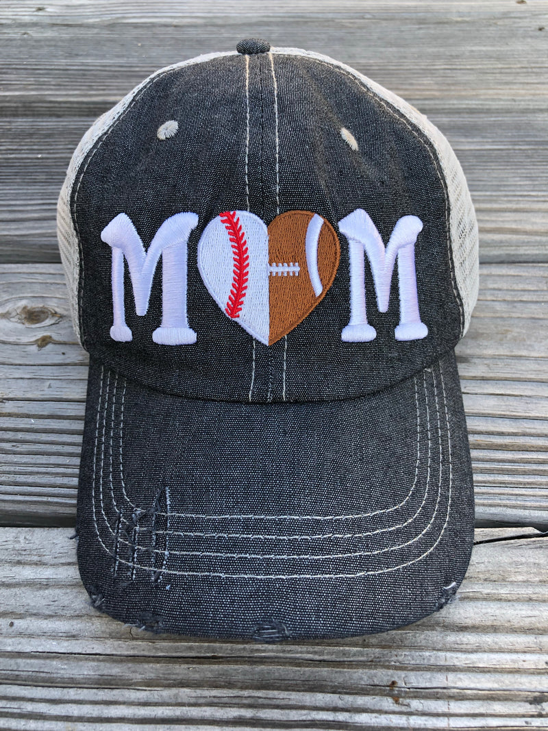Half Football Mom Half Baseball MOM Mesh Embroidered MESH Hat Baseball Football Mom Trucker Cap Trucker Hat