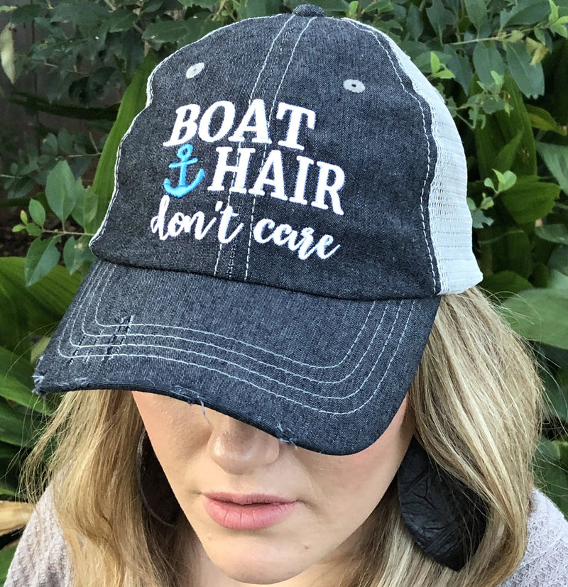 Embellished Women/'s Trucker Hat with the word BAD HAIR DAY  Distressed Mesh Trucker Hat Baseball Cap