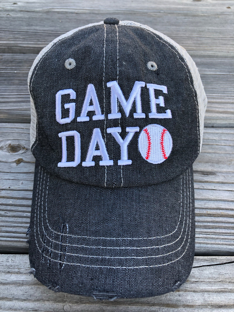 Game Day Baseball Mesh Embroidered MESH Hat Baseball Mom Trucker Cap Trucker Hat
