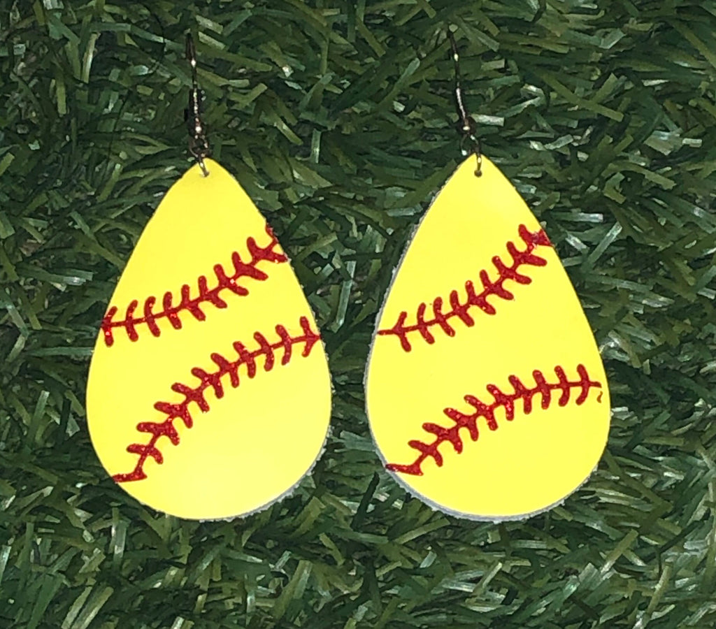 Softball Leather Teardrop Earrings