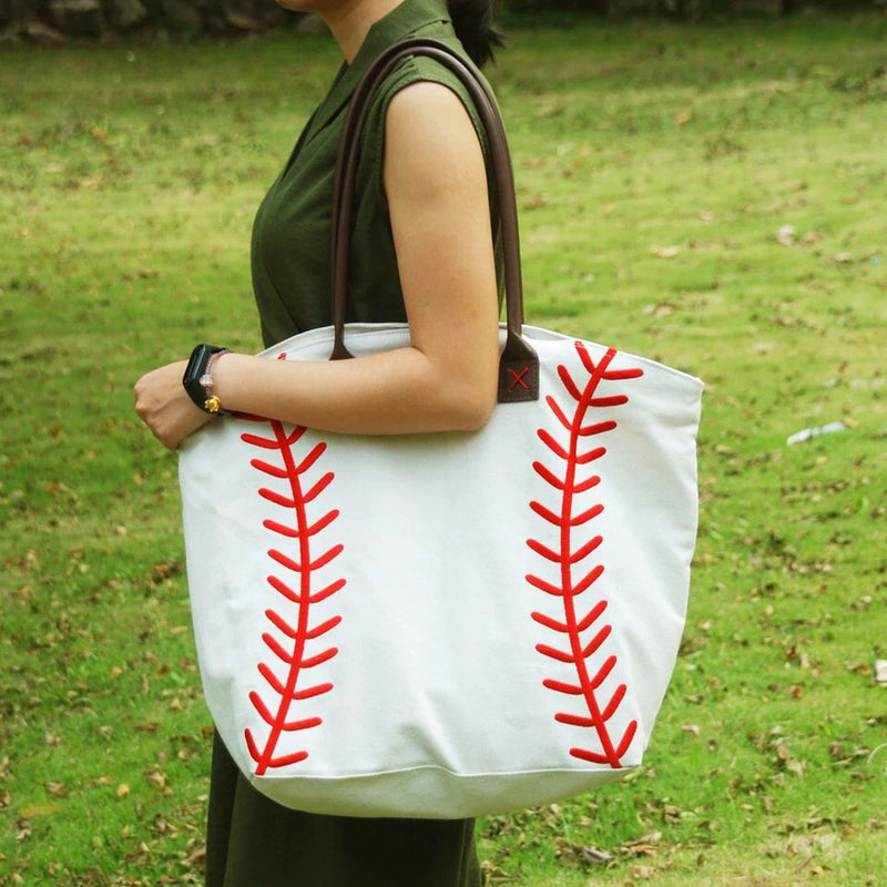 Embroidered Baseball Canvas Bag Tote
