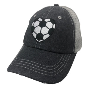 Heart Soccer Mom Mesh MESH Embroidered Hat