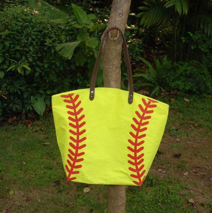 Oversize Softball Canvas Bag Tote