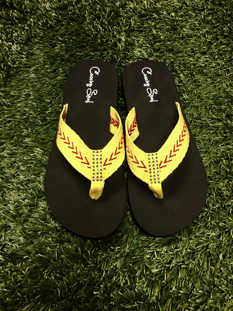 Cocomo Soul Softball Fabric Flip Flops Women's