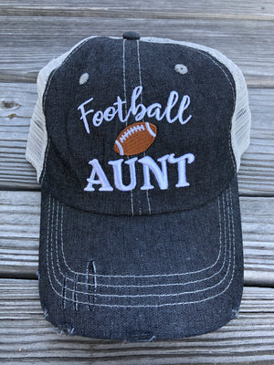 Football Aunt Mesh Embroidered MESH Hat Trucker Hat Cap