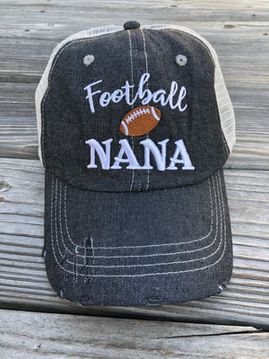 Football Nana Grandma Mesh Embroidered MESH Hat Trucker Hat Cap