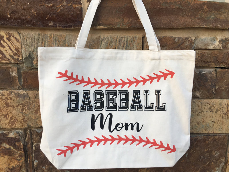 Baseball MOM Canvas Bag Tote