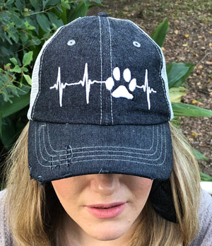Paw Print Ekg Love Dog Mom Cat Mom Distressed Trucker Hat