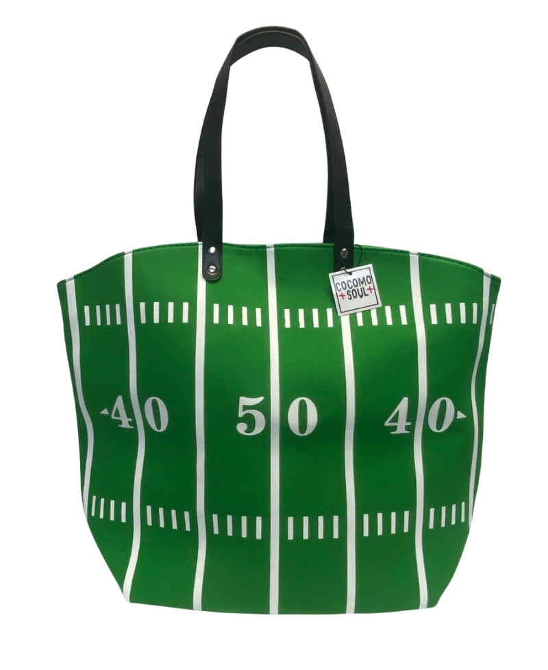 Football Canvas Bag Tote GREEN FIELD