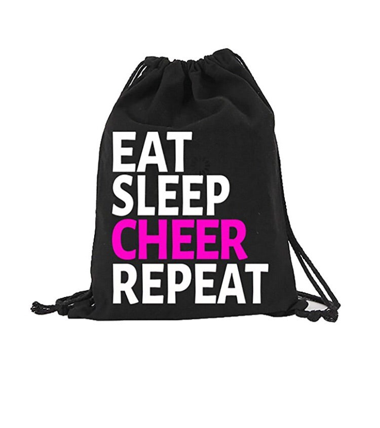 Eat Sleep Cheer Cheerleading Canvas Drawstring Bag Backpack Bag