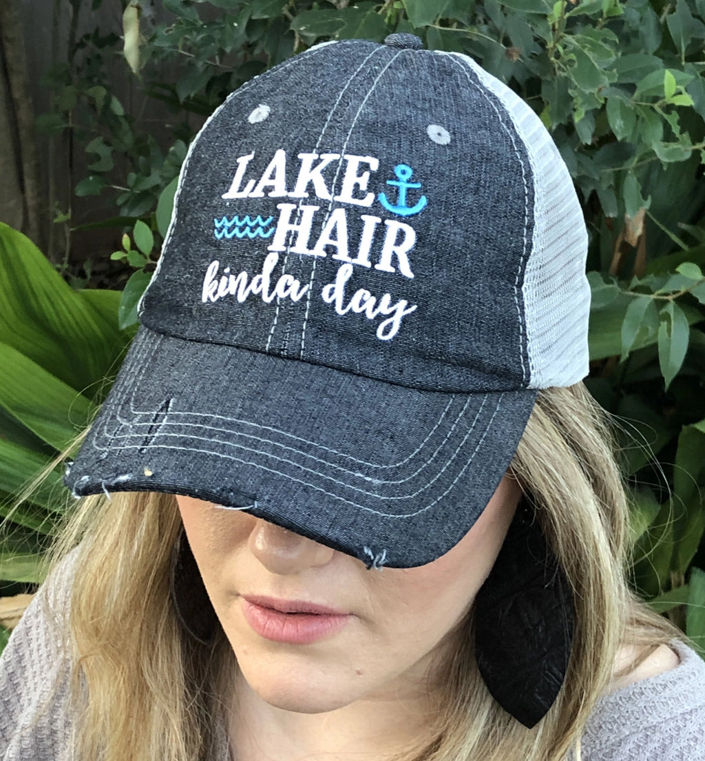 Lake Hair Kinda Day Distressed Trucker Hat