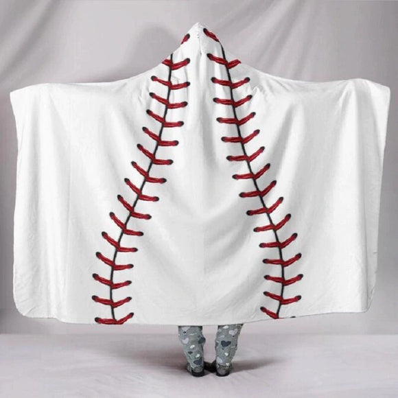 Adult Baseball Hooded Blanket Cotton/Sherpa