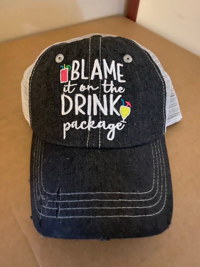 Blame It On The Drink Package Cruise Hat Distressed Trucker Hat