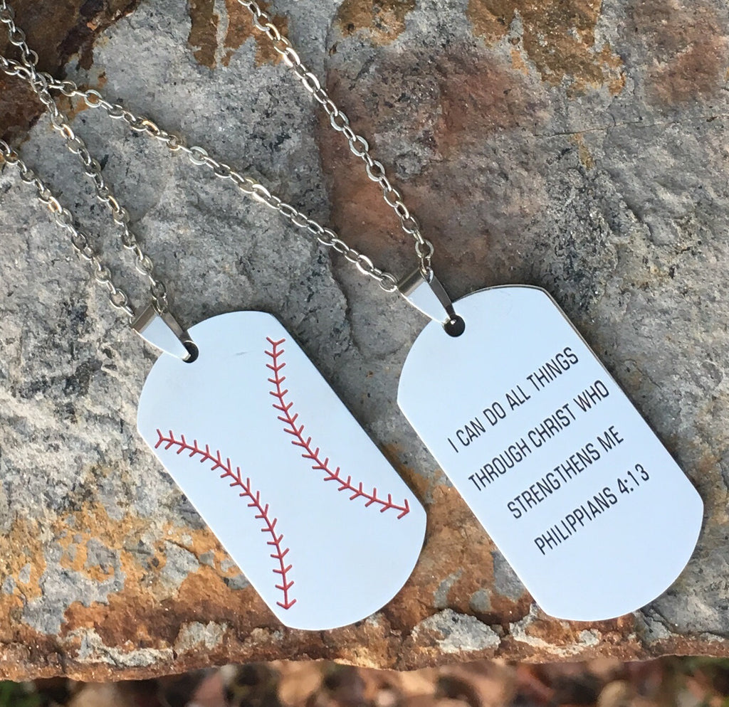 "Baseball or Softball Dog Tag Necklace ""I Can Do All Things Through Christ who Strengthens me- Philippians 4:13"""