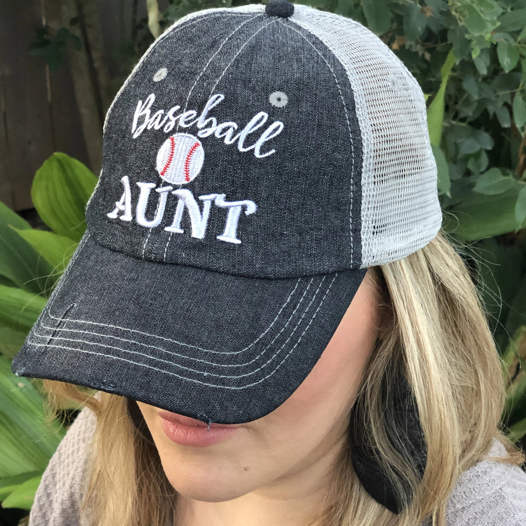 Baseball Aunt Mesh Embroidered MESH Hat Trucker Hat Cap