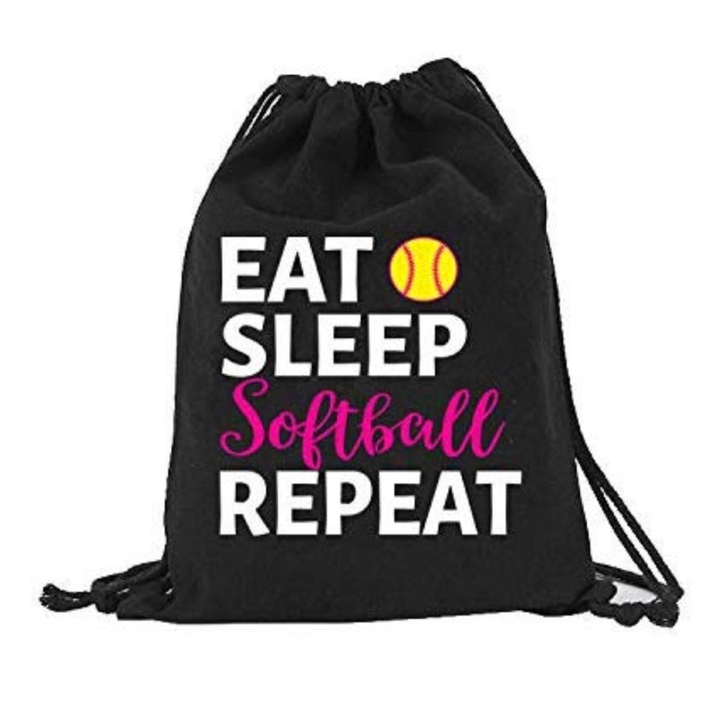 Softball Eat Sleep Softball Repeat Canvas Drawstring Bag Backpack Bag