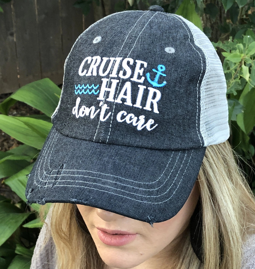 Cruise Hair Don't Care Distressed Trucker Hat