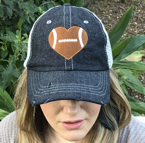 Football HEART Love Football Mom Grandma Mesh Embroidered MESH Hat Football Mom Trucker Cap Trucker Hat