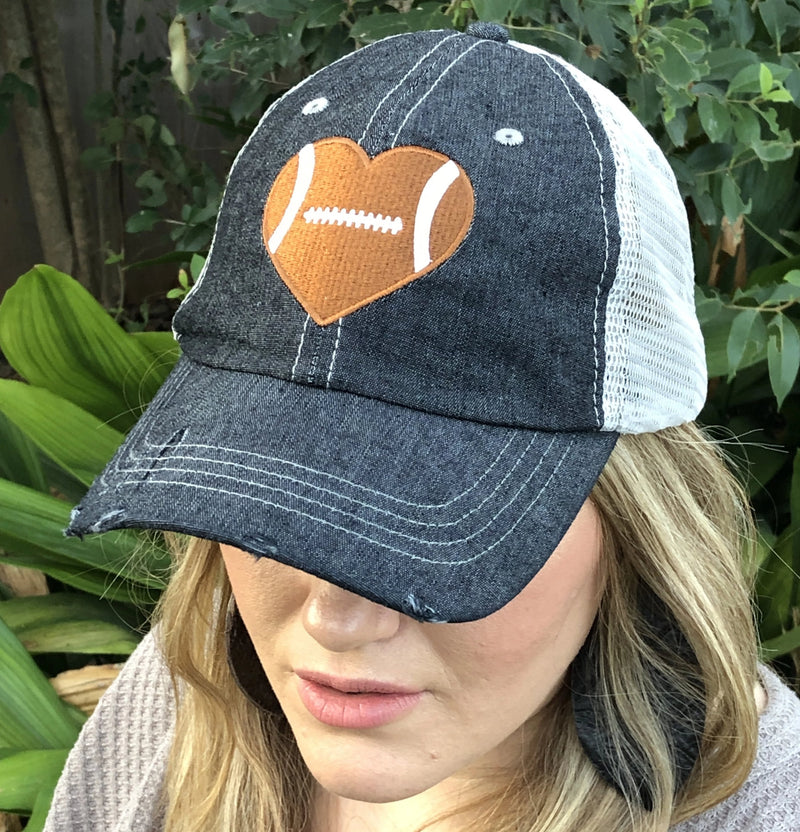 Football HEART Love Football Mom Grandma Embroidered Hat Football Mom Hat