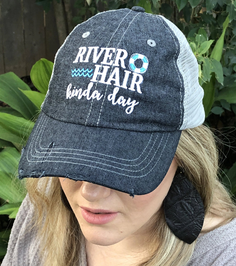 River Hair Kinda Day Distressed Trucker Hat
