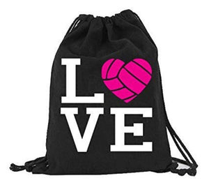 Volleyball LOVE Canvas Drawstring Bag Backpack Bag