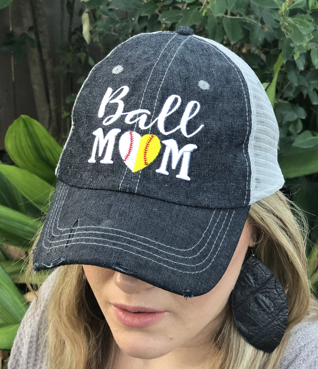 Ball Mom Half Baseball Half Softball Baseball MOM Softball MOM Mesh Embroidered MESH Hat Trucker Hat Cap