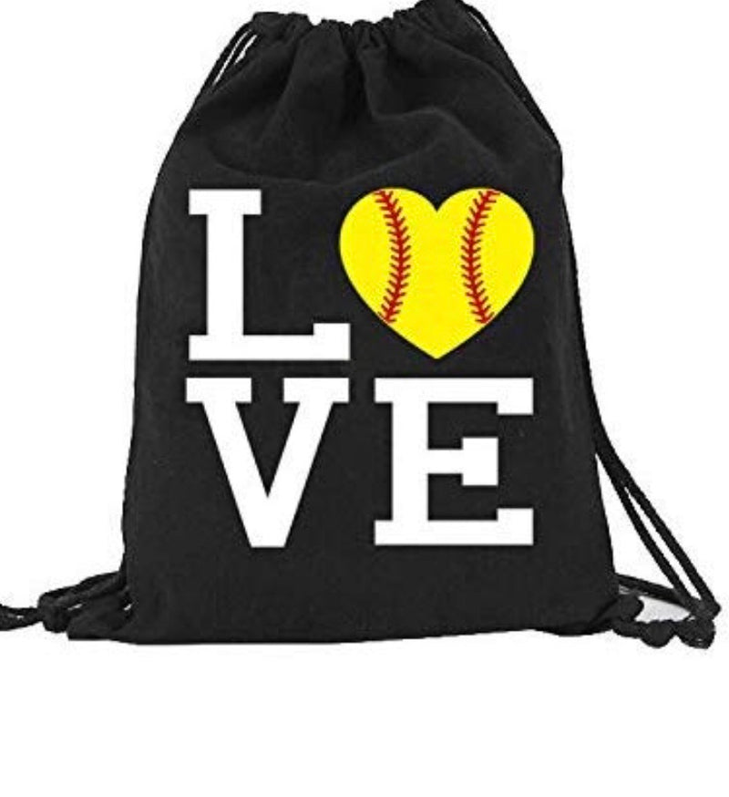 Softball LOVE Canvas Drawstring Bag Backpack Bag