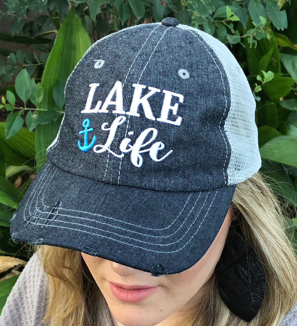 Lake Life Distressed Trucker Hat