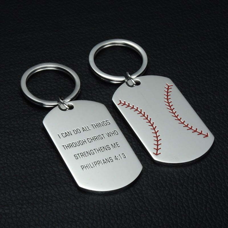 "Baseball Softball Key chain Keychain ""I Can Do All Things Through Christ Who Strengthens Me. Philippians 4:13"""