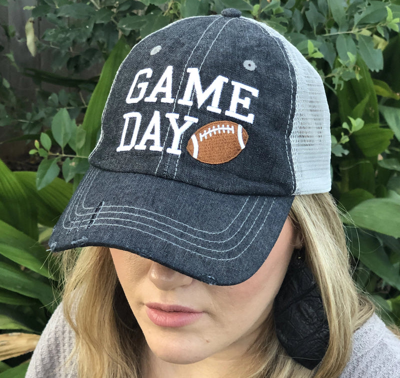 Game Day Football Mesh Embroidered MESH Hat Baseball Football Mom Trucker Cap Trucker Hat