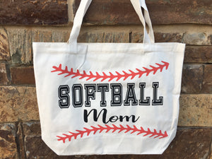 Softball MOM Canvas Bag Tote