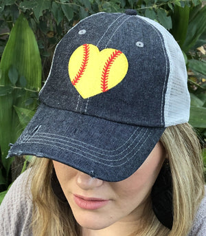 HEART Softball Hat Softball LOVE Softball MOM Softball Grandma Mimi Gigi Nana Aunt Sister Mesh Embroidered MESH Hat Trucker Hat Cap