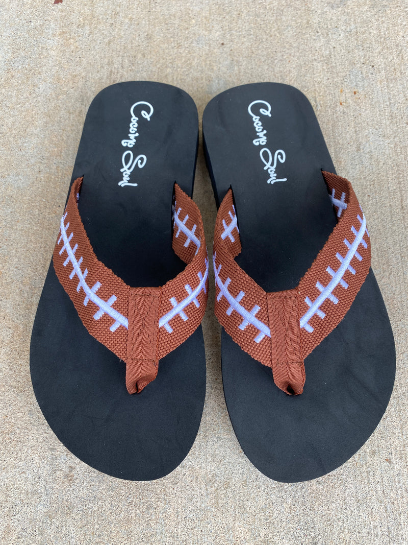 Football EMBROIDERED Flip Flops Womens