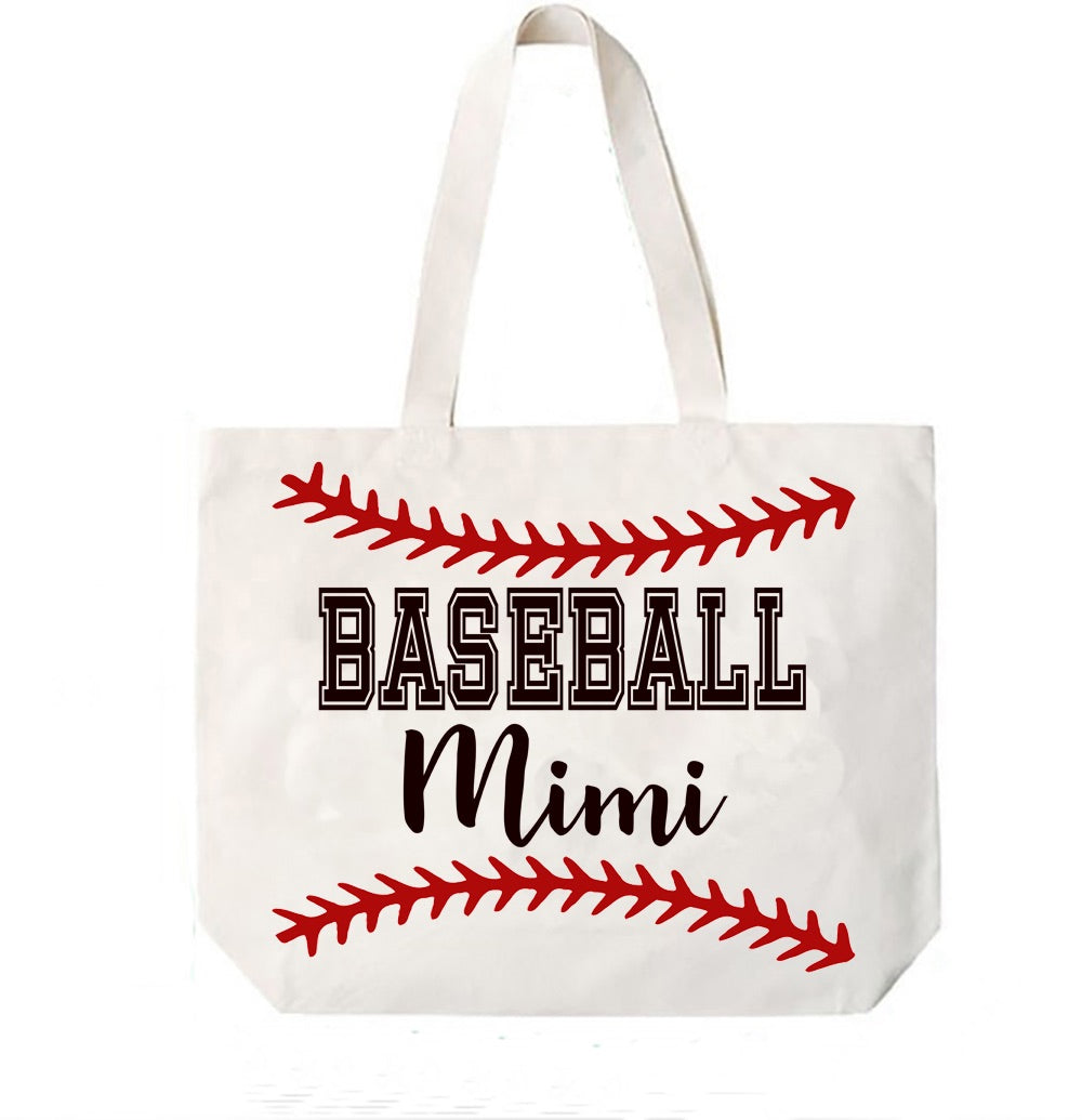 Baseball Mimi Canvas Bag Tote Grandma