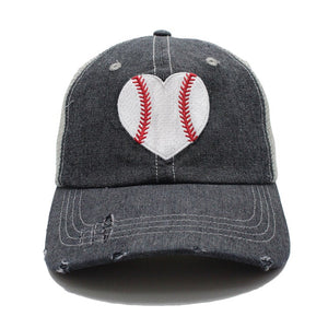 HEART Baseball Mom Mesh Embroidered MESH Hat Trucker Hat Cap