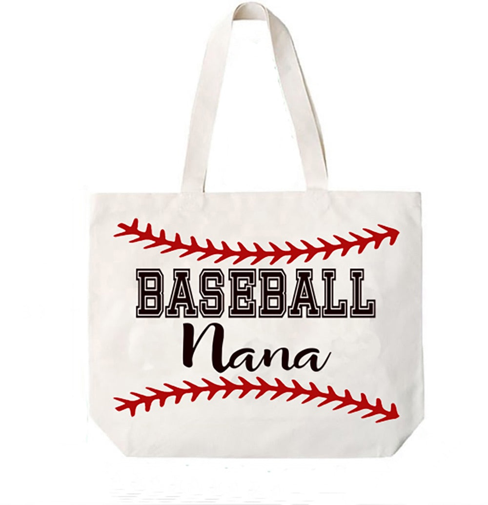 Baseball Nana Canvas Bag Tote Grandma